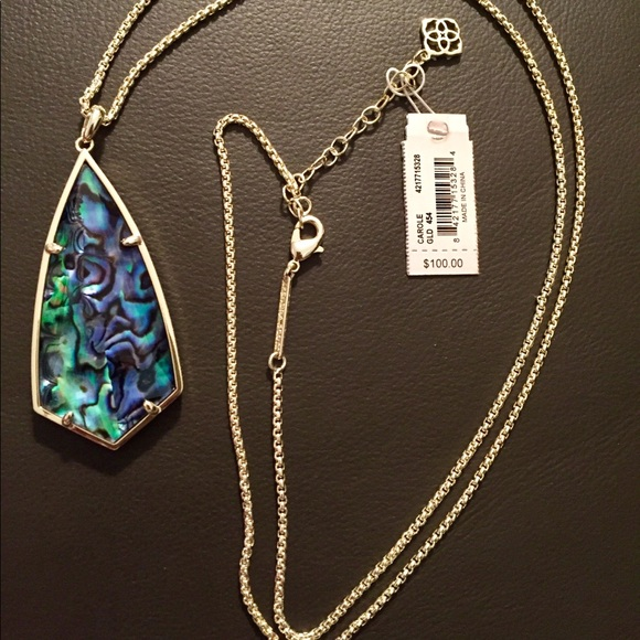 Women/'s Authentic Kendra Rayne Gold Long Pendant Necklace In Abalone Shell